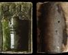 Fragment einer Nischenkachel mit nasenbesetztem Kielbogen mit zwei einander zugewendeten Vögeln neben Rosen in den Zwickeln, grün glasiert, Anfang 15. Jh., Heidelberg, Kurpfälzisches Museum, urspr. Heidelberg, Kornmarkt