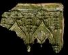 Fragment einer Nischenkachel mit doppeltem Kielbogen zwischen Wimpergen, grün glasiert, 2. Hälfze 15. Jh., Heidelberg, Kurpfälzisches Museum, urspr. Heidelberg, Kornmarkt