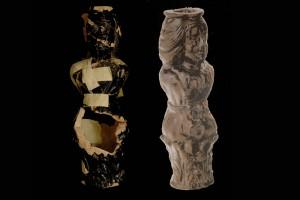 Fragment eines Ofenfußes vor und nach der Restaurierung, dunkelbraun glasiert, um 1600, Heidelberg, Kurpfälzisches Museum, urspr. Heidelberg, Kornmarkt