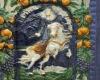 Blattkachel mit Kaiser Leopold I. zu Pferde vom Kachelofen mit Kurfürsten zu Pferd von Schloss Wildshut mehrfarbig glasiert, Ende 17. Jh., Linz, Oberösterreichisches Landesmuseum, urspr. Schloss Wildhut a. d. Salzach