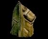 Fragment einer Nischenkachel mit geschlossenem Halbzylinder mit zweiteiliger Verkündigungsszene vom Typ 2 mit Maria, grün und gelb glasiert, Mitte 15.Jh., H. 8,4 cm, Br. 6,0 cm, Sinsheim, Stadt- und Freiheitsmuseum