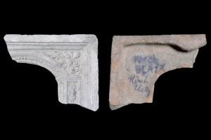 Fragment einer Blattkachel mit der Allegorie des Monats März nach Jost Amman, graphitiert, um 1600, H. 12,0 cm, Br. 7,5 cm, Sinsheim, Stadt- und Freiheitsmuseum