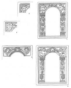 Rahmenformen mit der oberrheinischen Apostelserie: 1: Typ C1; 2: Typ C 1a (Zwickel mit gedrückten Putten); 3: Typ C 1b (Zwickel mit fliegenden Pullen); 4: Typ C2; 5: Typ C3 (Zwickel mit Puttenköpfen).