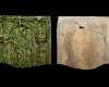 Fragment einer Blattkachel der Serie der oberrheinischen Apostel mit dem Apostel Paulus in einer Arkade des Typus 1, grün glasiert, Anfang 17. Jh., H. 16,5 cm, Br. 18,5 cm, Saverne CRAMS, urspr. Wangenbourg (Elsass)