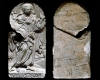 Fragment des Models des Innenfelds einer Blattkachel der Serie der oberrheinischen Apostel mit dem segnenden Jesus Christus, unglasiert, Anfang 17. Jh., H. 17,5 cm, Br. 8,5 cm, Villingen, Museum Altes Rathaus