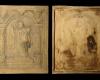 Fragment einer Blattkachel der Serie der oberrheinischen Apostel mit dem segnenden Jesus Christus in einer Arkade mit Puttenköpfen von Typ 3, graphitiert, Anfang 17. Jh., H. 22,1 cm, Br. 18,0 cm, Frankfurt a. Main, Historisches Museum