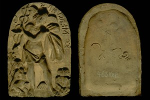 Model des Innenfelds einer Blattkachel mit Merkur aus der Serie der Sieben Planeten nach Beham, unglasiert, 2. Hälfte 16. Jahrhundert, München, Bayerisches Nationalmuseum