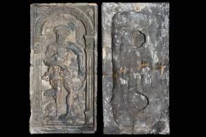 Fragment des Models einer Blattkachel mit Merkur aus der Serie der Planeten nach Beham, unglasiert, 2. Hälfte 16. Jh.,, H. 31,4 cm, Br. 16,3 cm, Köln, Kölnisches Stadtmuseum
