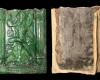 Fragment einer Blattkachel mit Venus aus der Serie der Planeten nach Beham, grün glasiert, 2. Hälfte 16. Jh., Gerolzhofen, Museum Altes Rathaus