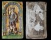 Fragment einer Blattkachel mit Merkur aus der Serie der Planeten nach Beham, mehrfarbig glasiert, 2. Hälfte 16. Jh., H. 30,4 cm, Br. 17,1 cm, Köln, Kölnisches Stadtmuseum