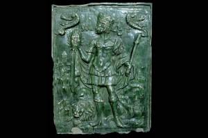 Fragment eines Reliefs mit Sol aus der Serie der Sieben Planeten nach Beham, Südwestdeutschland, 2. Hälfte 16. Jh., Stuttgart, Württembergisches Landesmuseum