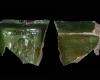 Fragment eines Schreibgeschirrs (?) mit Saturn aus der Serie der Sieben Planeten nach Beham, grün glasiert, 2. Hälfte 16. Jh., Seligenstadt, Kloster