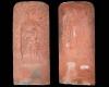 Fragment eines Feierabendziegels mit Saturn aus der Planetenserie nach Beham, unglasiert, Unterfranken, 2. Hälfte 16. Jh., H. 38,1 cm. Br. 16,7 cm, Amorbach, Heimatmuseum