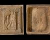 Fragment einer Blattkachel mit dem Monat August aus der großen Monatsserie nach Amman (Typ 2), graphitiert, Ende 16. Jh., H. 25,4 cm, Br. 23,0 cm, Ettlingen, Albgaumuseum, urspr. Ettlingen, Alte Markthalle, Töpferkeller von 1689