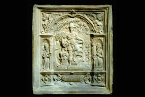 Fragment des Models einer Blattkachel mit dem Monat September aus der Monatsserie nach Amman im Rahmen mit der Jahreszahl 1603, unglasiert, Anfang 17. Jh., H. 31,0 cm, Br. 28,0 cm, München, Bayerisches Nationalmuseum
