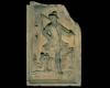 Fragment des Models einer Blattkachel mit dem Monat November aus der Monatsserie ohne Arkade nach Amman (Typ 4), unglasiert, Anfang 17. Jh., H. 60,0 cm, Br. 39,0 cm, Mengen, Heimatmuseum