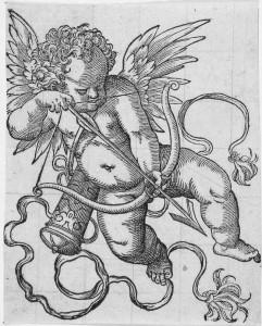 Der Pfeile verschießende Erot aus de, 1578 in Nünberg verlegten Kunst- und Lhrbüchlein des Jost Amman diente als Vorlage für den Zwickelbesatz der rahmenden Arkade der Kachel vom Heidelberger Schloss.