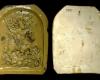 Moderne Abformung des Innenfelds einer Blattkachel mit Ninus aus der Serie der reitenden Weltreiche, gelb glasiert, Anfang 20. Jh. ?., Alzey, Museum der Stadt