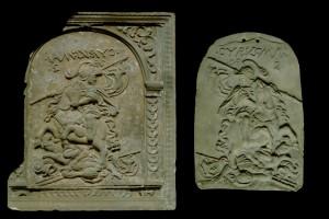 Fragment des Models einer Blattkachel mit Cyrus aus der Serie der reitenden Weltreiche in Arkade mit Schuppenbandbesatz, unglasiert, Anfang 17. Jh., H. 38,0 cm, Br. 33,0 cm, Colmar, Musée d´Unterlinden