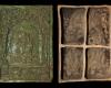 Fragment einer Blattkachel mit Cyrus aus der Serie der reitenden Weltreiche in Arkade mit Samson, grün glasiert, Anfang 17. Jh., H. 45,8 cm, Br. 32.9 cm, Düsseldorf, Hetjens-Museum