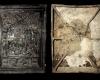 Fragment einer Blattkachel mit Alexander aus der Serie der reitenden Weltreiche in Arkade mit Samson, dunkelbraun glasiert, Anfang 17. Jh., H. 53,5 cm, Br. 40,2 cm, Münnerstadt, Henneberg-Museum
