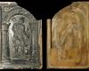 Fragment einer Blattkachel mit der Allegorie der Geometrie, dunkelbraun glasiert, Dieburg (?), 2. Hälfte 16. Jh., H. 28,9 cm, Br. 19,4 cm Mainz, Landesmuseum
