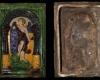 Fragment einer Blattkachel mit der Allegorie der Grammatik (1561), mehrfarbig glasiert, Köln (?), 2. Hälfte 16. Jh., H. 28,8 cm, Br. 19,2 cm Düsseldorf, Hetjens-Museum