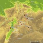 Verbreitung der Blattkachel mit glattem, nischenförmig einziehendem Bildfeld. Karte J. Jung, Spessart-GIS