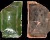 Fragment einer Blattkachel mit glattem, nischenförmig einziehendem Bildfeld, grün glasiert, Anfang 16. Jh., H.24,5 cm, Br. 16,5 cm Karlsruhe. Privatbesitz, urspr. Karlsruhe-Durlach, Amthausstrasse