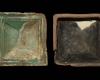 Fragment einer quadratischen Blattkachel mit glattem, nischenförmig einziehendem Bildfeld, grün glasiert, Anfang 16. Jh., H. 17,8 cm, Br. 17,3 cm Hildburghausen, Stadtmuseum, urspr. Hildburghausen, Schlossplatz