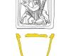 Napfkachel mit reliefiertem Vorsatzblatt, gelb glasiert, 14. Jh., Speyer, Historisches Museum der Pfalz, urspr. Zweibrücken, Alte Fasanerie
