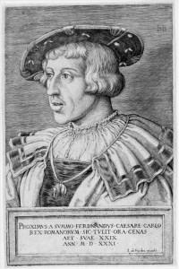 Kaiser Ferdinand I. (1503-1564), Ausschnitt aus einem 1531 erschienenen Holzschnitt von Barthel Beham