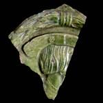 Fragment einer Blattkachel mit Kaiser Ferdinand I., grün glasiert, Mitte 16. Jahrhundert,  H. 10,8 cm, Br. 8,8, cm, Altdahn, Burgmuseum