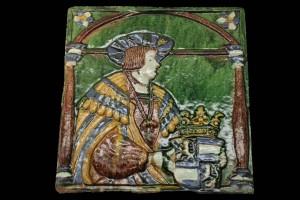 Fragment einer Blattkachel mit Kaiser Ferdinand I. als Wappenschildhalter, mehrfarbig glasiert, zweite Hälfte 16. Jh., Leipzig, Grassimuseum