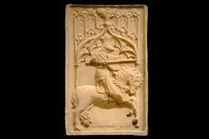 Model für des Vorsatzblatt einer Nischenkachel mit Ritter beim Gestech, unglasiert, erste Hälfte 15. Jahrhundert, Heilbronn, Städtische Museen