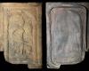Fragment einer Blattkachel mit der Allegorie des Zorns (Ira), graphitiert, Anfang 17. Jh., H. 27,4 cm, Br. 17,8 cm , Schlüchtern, Bergwinkelmuseum