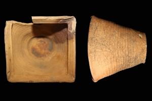 Fragment einer Napfkachel mit scharf profiliertem Rand und mit glattem Boden, unglasiert, Ende 15. Jh., H. 13,2 cm, T. 14,0 cm, Bamberg, Historisches Museum, urspr. Strullendorf