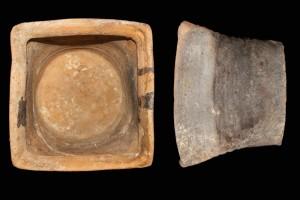Fragment einer Napfkachel mit scharf profiliertem Rand und mit glattem Boden, unglasiert, Ende 15. Jh., H. 15,5 cm, T. 11,5 cm, Nürnberg, Untere Denkmalschutzbehörde, urspr- Nürnberg, Weißgerbergasse