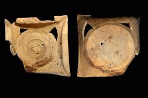 Fragment einer Napfkachel mit umgeschlagenem Rand und gekniffener Rosette auf dem Boden, unglasiert, 16. Jh., H. 15,3 cm, T. 7,6 cm, Partenstein, Museum Ahler Kram, urspr. Partenstein, Torweg