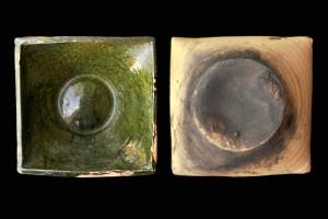 Fragment einer Napfkachel mit glatt abgestrichenem Rand und gewölbtem, glattem Boden, grün glasiert, 17. Jh., Ettlingen, Albgaumuseum, Urspr. Ettlingen, Färbergasse