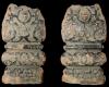 Fragment eines Ofenfußes in Gestalt eines Balusters mit Beschlagwerk, Medaillon mit Löwen mit Ring im Maul, dunkelbraun glasiert, Anfang 17. Jh., H. 20,0 cm; Br. 11,2 cm, Mainz, Landesmuseum