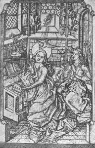 Eine Variante des englischen Grußes des in der zweiten Hälfte des 15. Jahrhunderts am Oberrhein tätigen Maisters E.S.