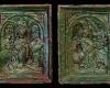 Nischenkachel mit geschlossenem Vorsatzblatt mit zweiteiliger Verkündigungsdarstellung vom Typ 1 grün glasiert, 2. Hälfte 15. Jh. Inssbruck, Volkskundemuseum