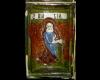 Fragment einer Nischenkachel reliefiertem Halbzylinder mit Marial aus einer zweiteiligen Verkündigungsdarstellung in der Art des Halberstadter Ofens polychrom glasiert, um 1450 Nürnberg, Germanisches Nationalmuseum
