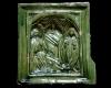 Blattkachel mit einer einteiligen Verkündigungsdarstellung nach Robert Campin grün glasiert, Ende 15. Jahrhundert, H. 16,0 cm; Br. 15,5 cm Geislingen an der Steige, Museum, urspr. Burg Helfenstein