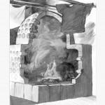Schema eines Becherkachelofens. Zeichnung: Christian Meyer zu Ermgassen, Kellinghusen