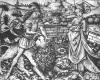 Samson als Löwenbezwinger, Kupferstich des Meisters E.S., Ende 15. Jh.