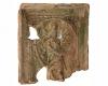 Fragment einer Nischenkachel mit geschlossenem Vorsatzblatt mit dem Heiligen Christopherus, grün glasiert, Ende 15. Jh., H. 21.3 cm, Br. 17,4 cm, Karlsruhe, Privatbesitz, urspr. Karlsruhe-Durlach, Rebenstraße