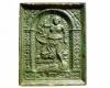 Fragment einer Blattkachel mit der Allegorie der Fortuna mit einem Segel in vasenwerkbesetzter Arkade,, grün glasiert, Ende 16. Jh., H. 32,5 cm, Br. 26,5 cm, Villingen, Museum Altes Rathaus
