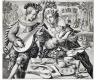 Serie der Elemente in Form von galenten Liebespaaren: Die Erde, Kupferstich von Crispyn de Passe, um 1600